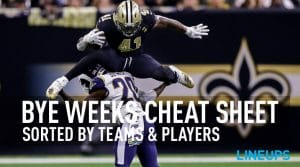 2019 Fantasy Football Bye Week Cheat Sheet