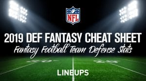 2019 Defense Fantasy Football Cheat Sheet: DEF Stats