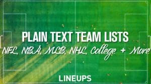 Plain Text Lists of Professional & College Sports Teams: NFL, NBA, MLB, NHL & More