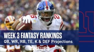 Week 3 Fantasy Football PPR Rankings & Projections (Updated: Sunday & Monday Only)