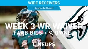 Week 3 WR Waiver Pickups & Adds: Fantasy Football FAAB Bids, % Owned