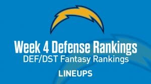 Week 4 NFL Defense (DEF) Fantasy Football Rankings: Stats & Projections