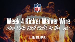 Week 4 Kicker Waiver Wire Pickups & Adds:  FAAB Bids, % Owned