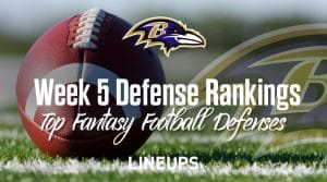 Week 5 NFL Defense (DEF) Fantasy Football Rankings: Stats & Projections