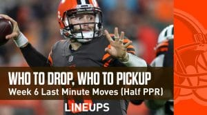 Who to Drop & Pick Up For Week 6 Fantasy Football