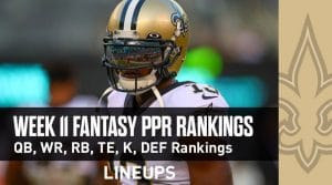 Week 11 Fantasy Football PPR Rankings & Projections