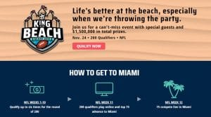 2019 DraftKings King of the Beach NFL Contest: $1,500,000 Prizes