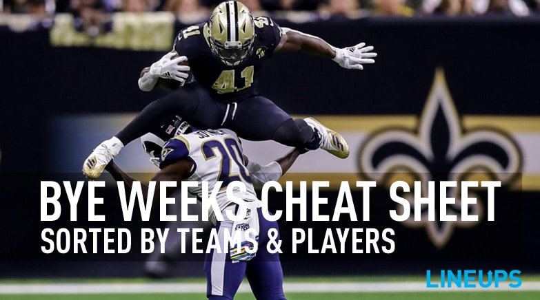 fantasy football bye weeks cheat sheet