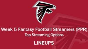 Week 5 Fantasy Football PPR Streamers: Bye Week 5 Prep