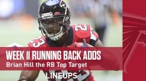 Week 11 RB Waiver Pickups & Adds: Brian Hill Leads the PPR Charge
