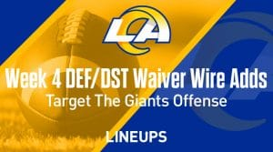 Week 4 Defense (DEF/DST) Waiver Wire Pickups: Target the Giants' Offense