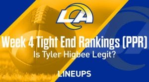 Week 4 Tight End Fantasy Football Rankings & Projections: Is Tyler Higbee's fantasy potential legit?