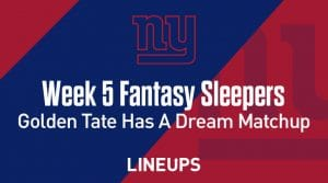 Fantasy Sleepers Week 5: Golden Tate In A Dream Matchup