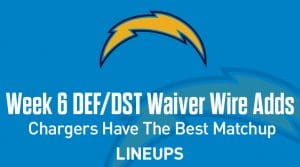 Week 6 Defense (DEF/DST) Waiver Wire Pickups: Chargers Face The Best Matchup