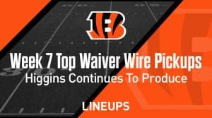 Week 7 Waiver Wire Top Pickups & Adds: Tee Higgins Continues To Produce