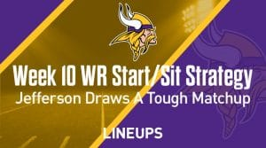 Week 10 WR Start, Sit Fantasy Strategy: Justin Jefferson In A Tough Matchup On MNF