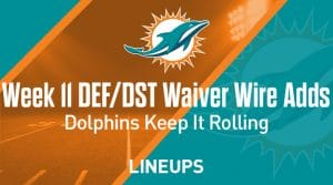 Week 11 Defense (DEF/DST) Waiver Wire Pickups: Dolphins Are Rolling