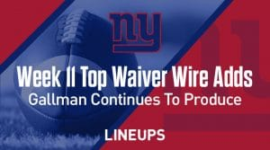 Week 11 Waiver Wire Top Pickups & Adds: Wayne Gallman Continues To Put Up Points