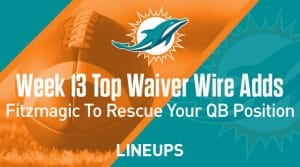Week 13 Waiver Wire Top Pickups & Adds: Ryan Fitzpatrick To Rescue Your QB Position