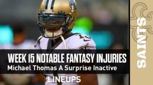 Week 15 Fantasy Football Notable Injuries: Michael Thomas with a surprise inactive