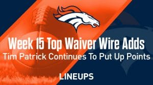 Week 15 Waiver Wire Top Pickups & Adds: Tim Patrick Continues To Put Up Points